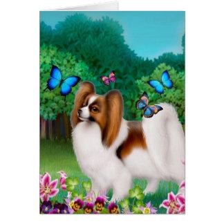 Papillon Dog in Garden Garden Greeting Card