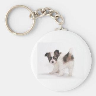 Papillon Puppy Basic Round Button Key Ring