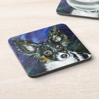 Papillon puppy drink coasters