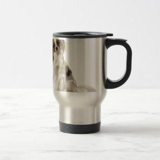 Papillon Puppy interrogative Stainless Steel Travel Mug