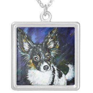Papillon puppy square pendant necklace