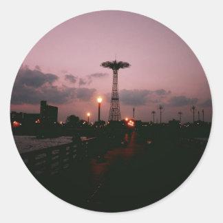 Parachute Jump, Coney Island at Sunset Round Sticker