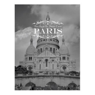 Paris Black and White Travel Postcard Sacre Coeur