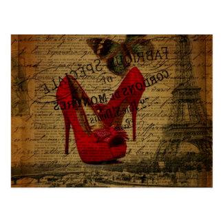 Paris eiffel tower fashionista red stilettos postcard