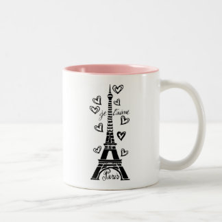 PARIS JE T'AIME EIFFEL TOWER AND HEARTS PRINT Two-Tone MUG