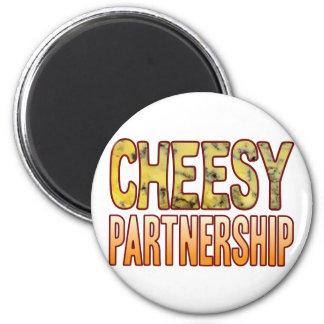 Partnership Blue Cheesy 6 Cm Round Magnet
