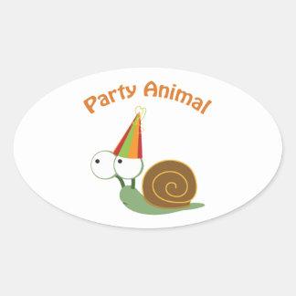 Party Animal! Snail Oval Sticker