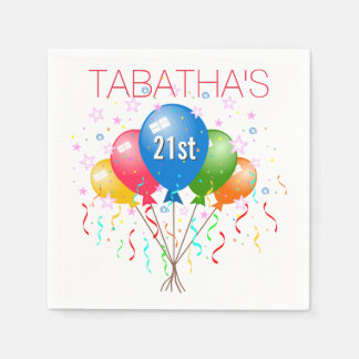 Party Balloons 21st Birthday Party Paper Napkins