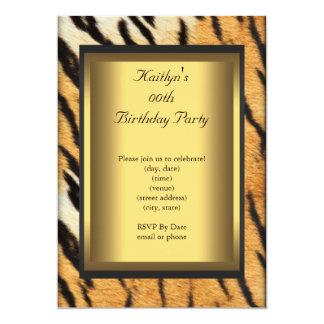 Party Birthday Tiger Animal Gold 13 Cm X 18 Cm Invitation Card