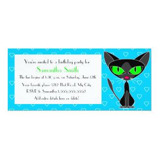 Party Cat Black and Blue Birthday Invitation