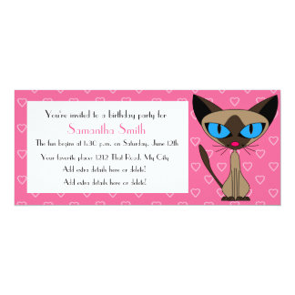 Party Cat - Siamese Pink Birthday Invitation