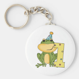 Party Frog 1st Birthday T-shirts and Gifts Basic Round Button Key Ring