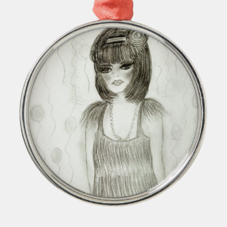 Party Girl Flapper Silver-Colored Round Decoration
