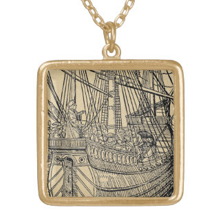 Passage on a Trading Ship Square Pendant Necklace