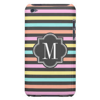Pastel Candy Stripes with Charcoal Monogram iPod Touch Covers