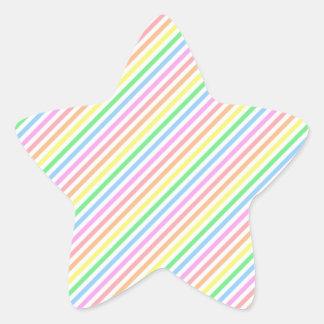 Pastel Diagonal Stripes Star Sticker