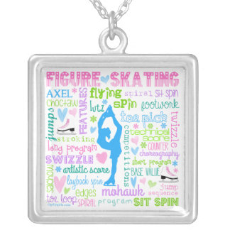 Pastel Figure Skater Words Typography Square Pendant Necklace