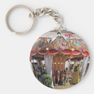 Pastel & Gold Floral Italian Carousel Pentagon Basic Round Button Key Ring