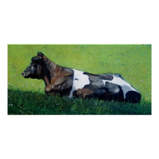 Pastel Painting of Dutch Holstein Cow Poster