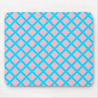 Pastel Pink and Baby Blue Diamonds Pattern Mouse Pad