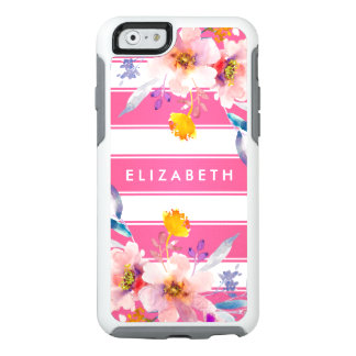 Pastel Pink Modern Floral Striped iPhone 6 Case