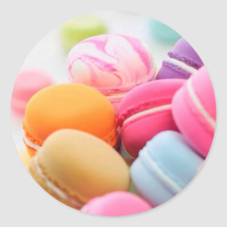 Pastel Rainbow Scattered French Macaron Cookies Round Sticker