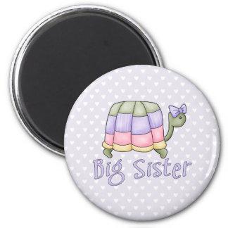 Pastel Turtle Big Sister 6 Cm Round Magnet