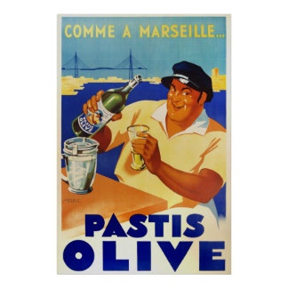 Pastis Olive - Comme a Marseille Poster