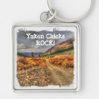 Path to Happy; Yukon Chicks ROCK Silver-Colored Square Key Ring