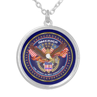 Patriotic American View Notes Please Round Pendant Necklace