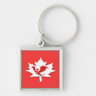 Patriotic Canadian Dragon Red Silver-Colored Square Key Ring