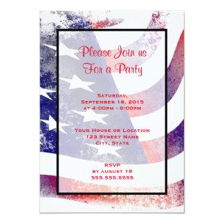 Patriotic Grunge Style Faded American Flag 13 Cm X 18 Cm Invitation Card