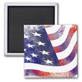Patriotic Grunge Style Faded American Flag Square Magnet