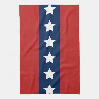 Patriotic Red White and Blue Stars and Stripes Tea Towel