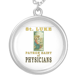 PATRON SAINT PHYSICIANS ST. LUKE ROUND PENDANT NECKLACE