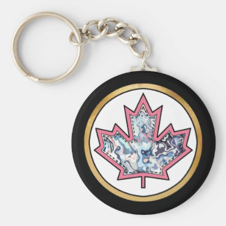 Patterned Applique Stitched Maple Leaf  5 Basic Round Button Key Ring