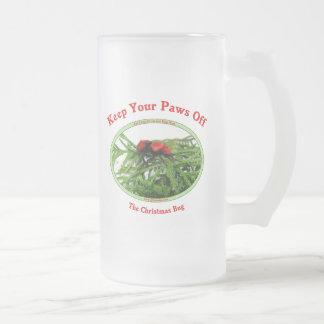 Paws Off Christmas Bug Frosted Glass Mug