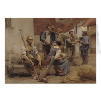 Paying the Harvesters, 1882 Greeting Card