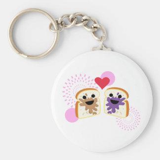 PB& J Love Basic Round Button Key Ring