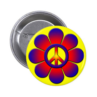 PEACE FLOWER 6 CM ROUND BADGE