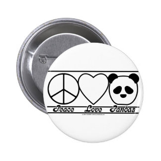 Peace Love and Pandas 6 Cm Round Badge