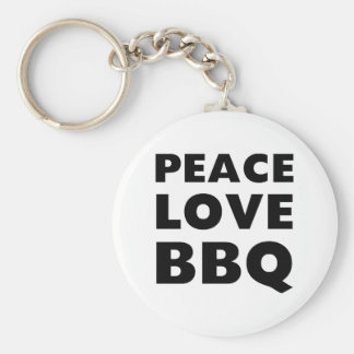 Peace Love BBQ Basic Round Button Key Ring
