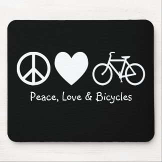 Peace, Love & Bicycles Mousepad