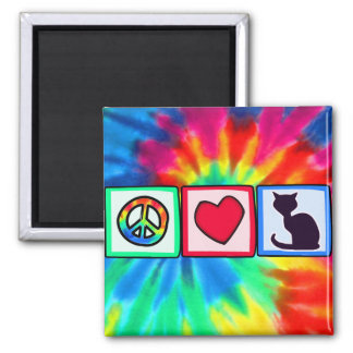 Peace, Love, Cats Square Magnet