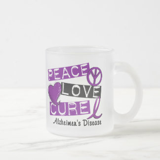 PEACE LOVE CURE ALZHEIMER'S DISEASE FROSTED GLASS MUG