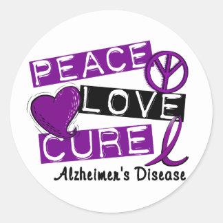 PEACE LOVE CURE ALZHEIMER'S DISEASE ROUND STICKER