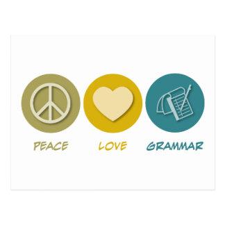Peace Love Grammar Postcard