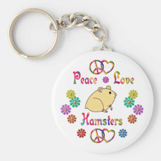 PEACE LOVE HAMSTERS BASIC ROUND BUTTON KEY RING