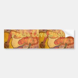 peace love music acoustic girl bumper sticker