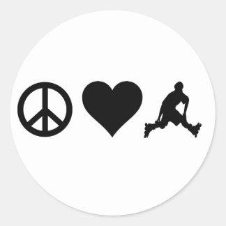 Peace Love Rollerblading Round Sticker
